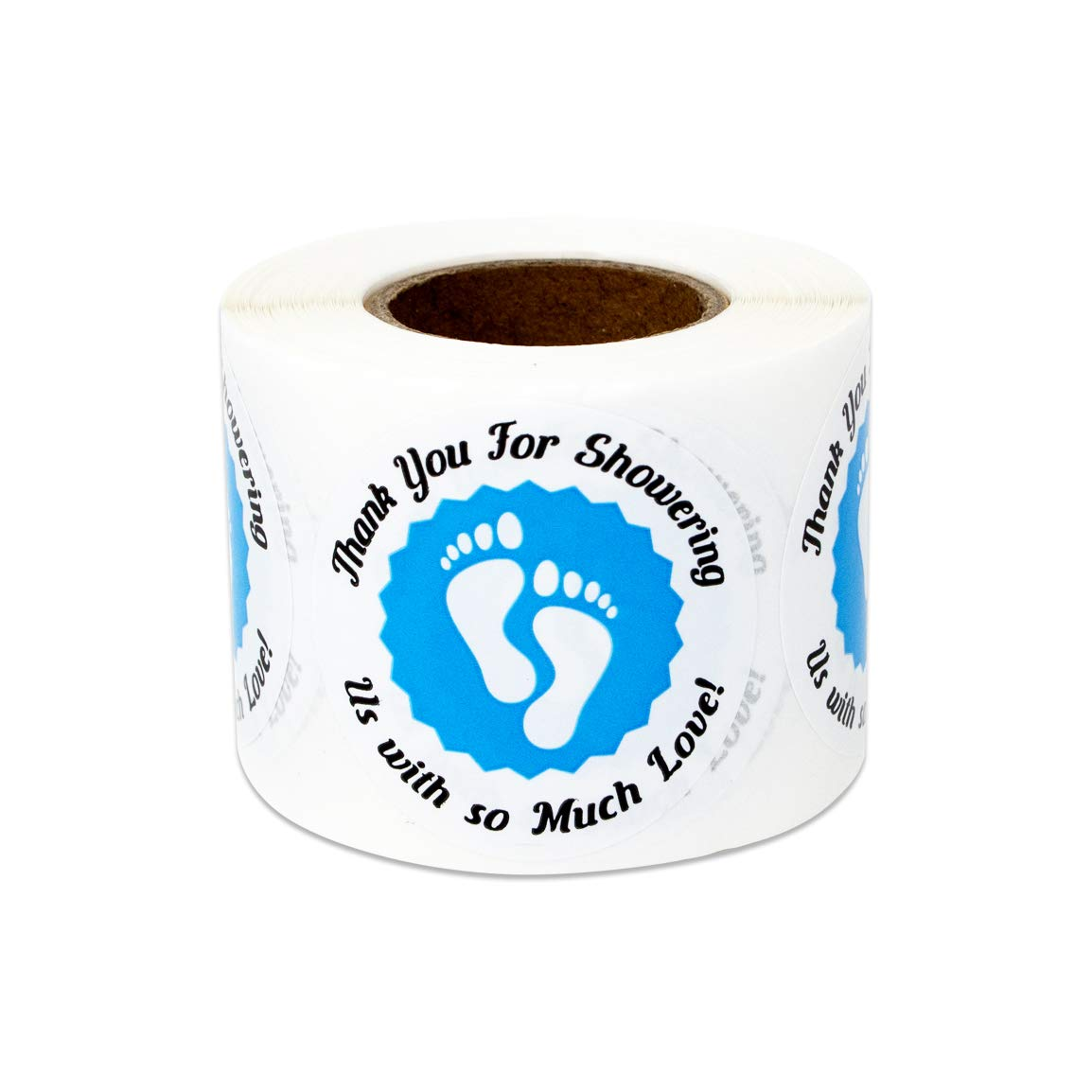300 Labels - Baby Shower Stickers for Thank You Appreciation Babies Gender Reveal (1.5 Inch Blue - 1 Roll)