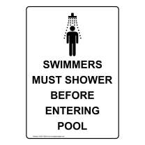 Vertical Swimmers Must Shower Before Entering Pool Safety Sign, White 14x10 in. Aluminum for Recreation by ComplianceSigns