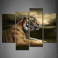 4 Panel Wall Art Tiger Looking and Sitting Under Dramatic Sky with Clouds Painting Pictures Print On Canvas Animal The Picture for Home Modern Decoration Piece Stretched by Wooden Frame,Ready to Hang