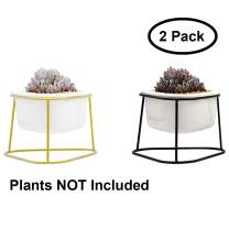 Airmoon White Ceramic Succulent Planter Pots with Metal Display Stand for Succulent Plants Cactus (Triangle2pcs)