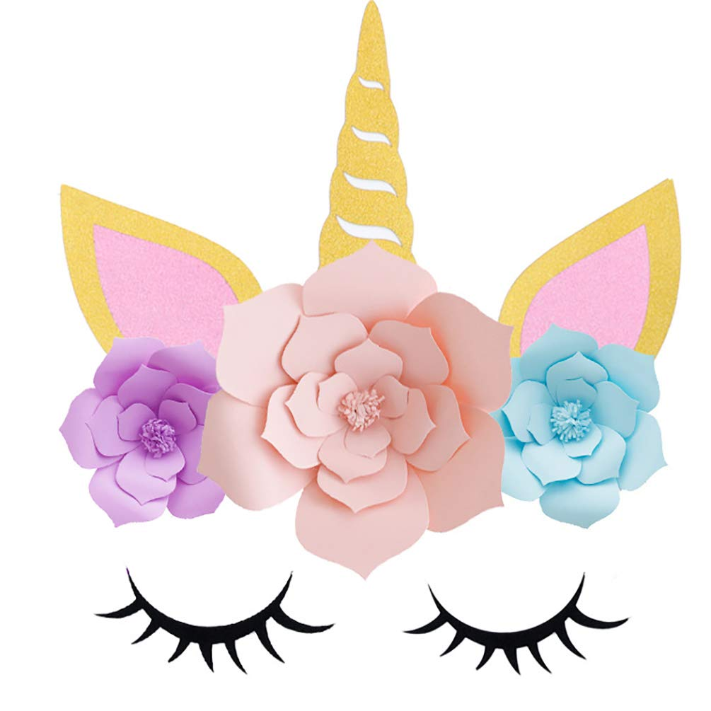 ADIDO EVA Unicorn Paper Flower Backdrop Decorations for Girls Birthday Party Baby Shower DIY Unicorn Flower Backdrop with Glitter Giant Horn Ears Eyelashes