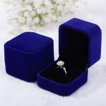 Tianying 2 Pack Velvet Ring Boxes, Earring Pendant Jewelry Case, Ring Earrings Gift Boxes, Jewellry Display (Dark Blue, Ring Box)