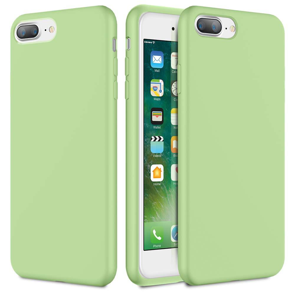 Caka iPhone 7 Plus Case, iPhone 8 Plus Liquid Silicone Case Silicone Series Gel Rubber Soft Slim Girly Microfiber Cloth Lining Cushion Cute Protective Case for iPhone 7 Plus iPhone 8 Plus (Mint)