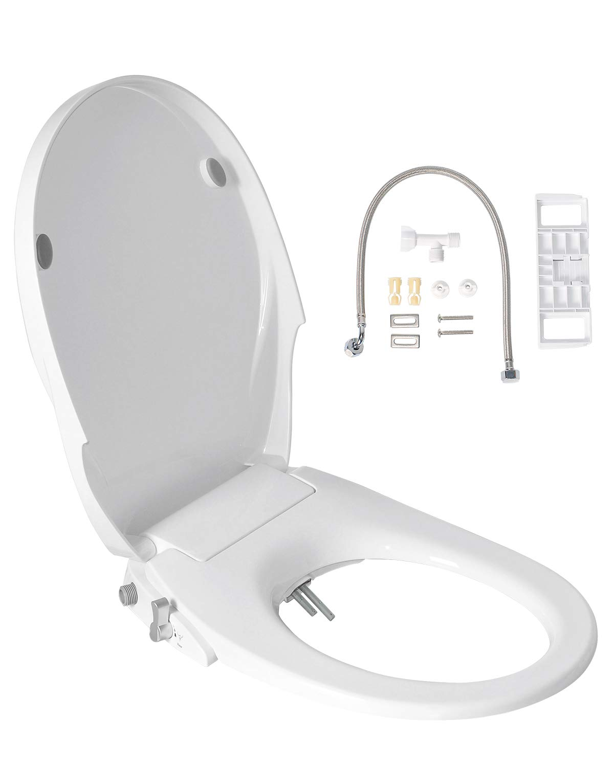 Uni-Green Toilet Seat Bidet, White with Quiet-Close Lid and Seat, Dual Wash Nozzles for Rear and Feminine Spray,Non-Electronic