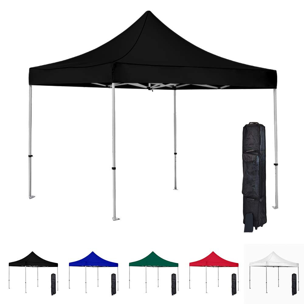 Vispronet 10x10 Instant Canopy Tent – Commercial-Grade Aluminum Frame – Water Resistant Canopy Top – Includes Wheeled Canopy Bag and Premium Stake Kit (Black)