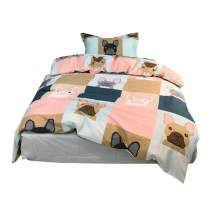 MKXI Girls Queen Bedding Sets Kids Duvet Cover Puppy Dogs Pattern on Multi-Colored Checkers, Reversible Contemporary Cartoon Beddings for Boys Teens
