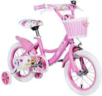 Dripex Girls Bike with Training Wheels for 12 14 16 18 inch Kids Bike, Kickstand for 16 18 inch Girls Bike Pink