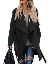 Chang Yun Womens Wrap Trench Overcoat Long Sleeve Winter Lapel Wool Blend Coat Outwear with Belt