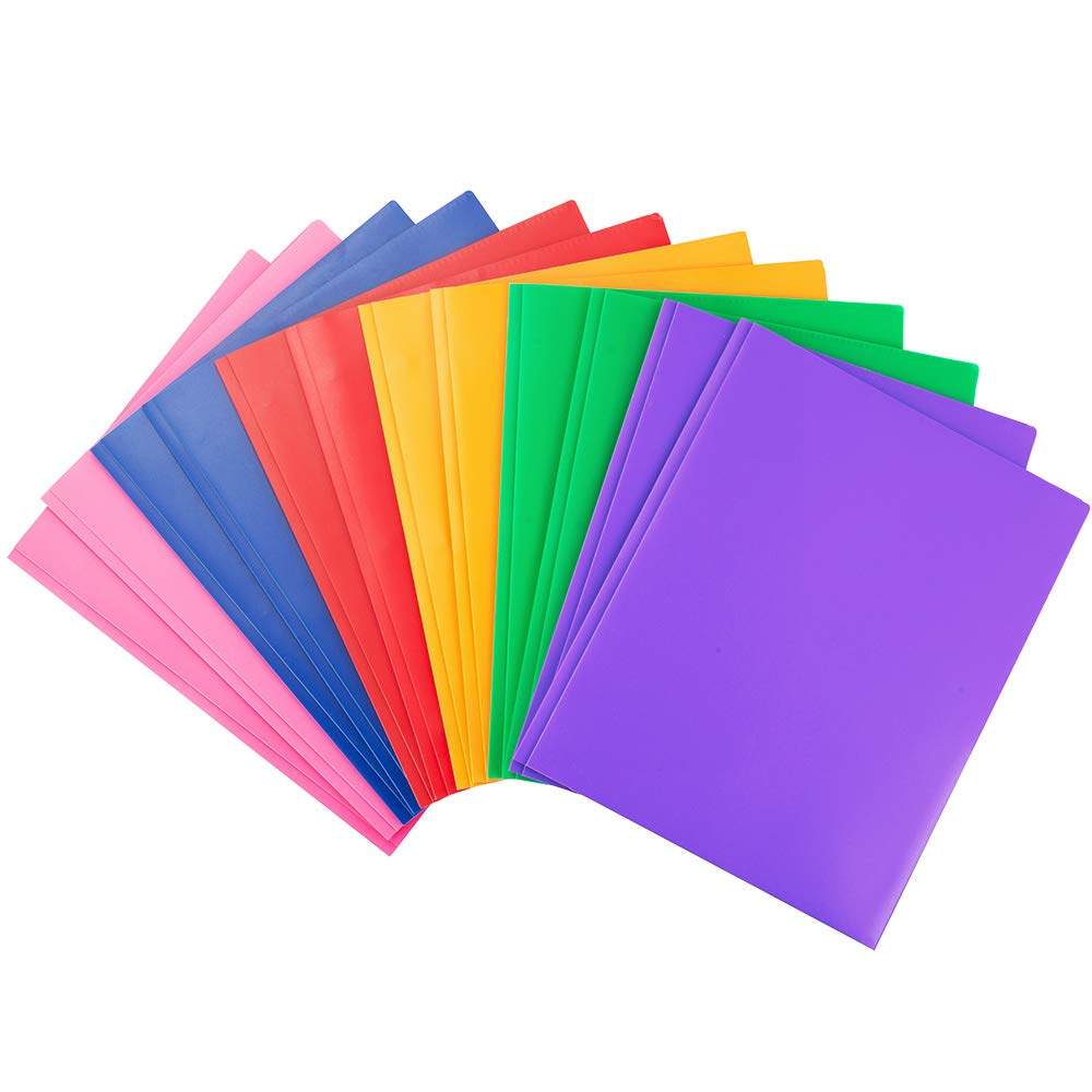 MAKHISTORY Heavy Duty Plastic Folders with Pockets and Prongs - 12 Pack, Assorted Bright Colors for Letter Size Paper