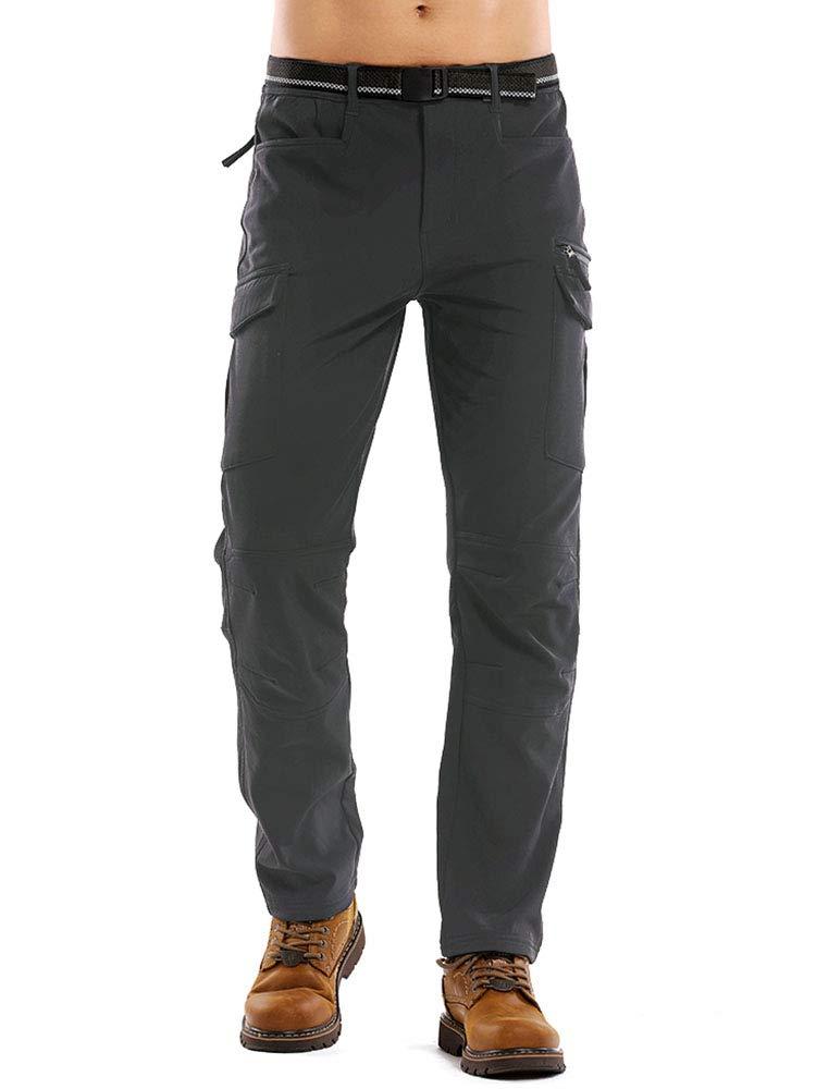 linlon Men's Waterproof Outdoor Fleece Ski Snow Soft Shell Insulated Hiking Cargo Pants