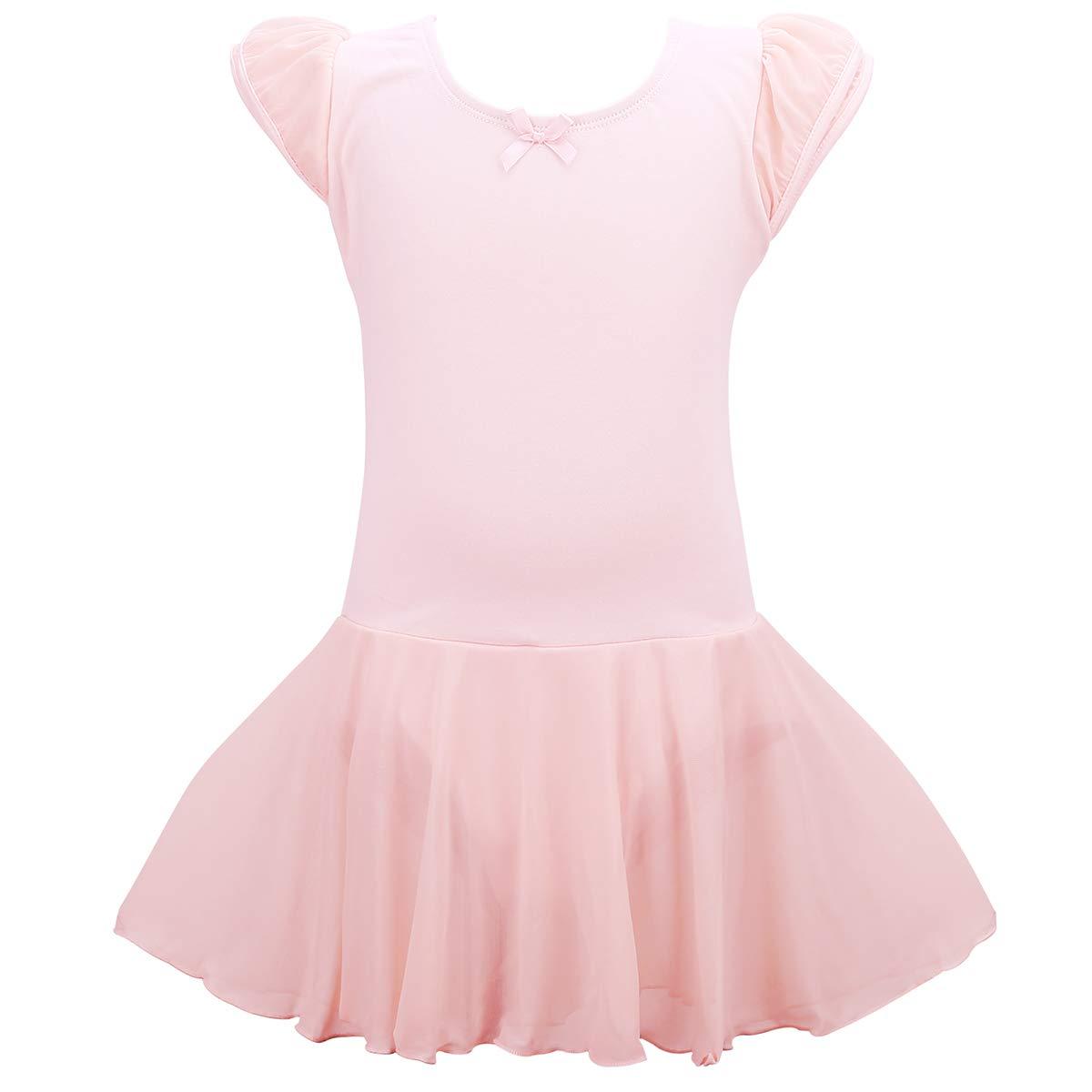 Jane Shine Girl Ballet Skirted Leotard, Flying Sleeve Cotton Ballet Dress with Tulle Skirt for Babies & Girls