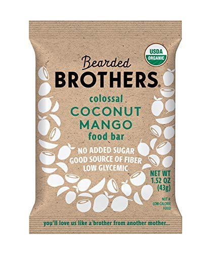 Bearded Brothers Vegan Organic Energy Bar | Gluten Free, Paleo and Whole 30 | Soy Free, Non GMO, Low Glycemic, Packed with Protein, Fiber + Whole Foods | Coconut Mango | 5 Pack