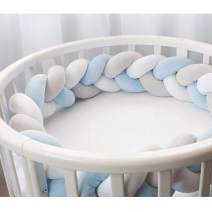 """Infant Soft Pad Braided Crib Bumper Knot Pillow Cushion Cradle Decor for Baby Girl and Boy (White-Blue-Grey, 79"""")"""