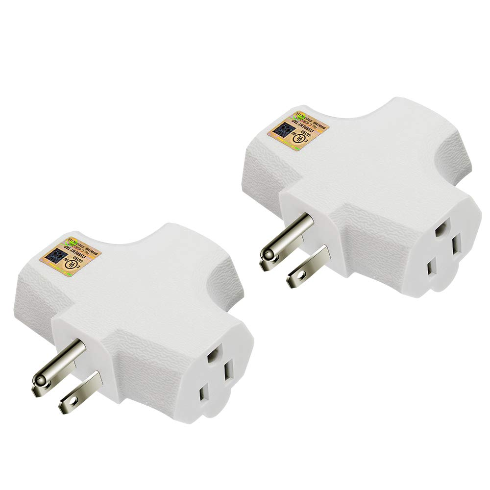 Kasonic 3-Outlet Grounding Adapter 2 Pack, Heavy-Duty Grounded Power Tap, UL Listed Plug Extender (White)