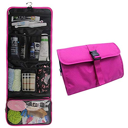 Hanging Toiletry Bag Travel Kit for Men and Women Waterproof Wash Bag Compact Makeup Organizer Bag Shaving Kit for Bathroom, Travel Accessories, Cosmetics, Shampoo, Body Wash (Hot Pink)