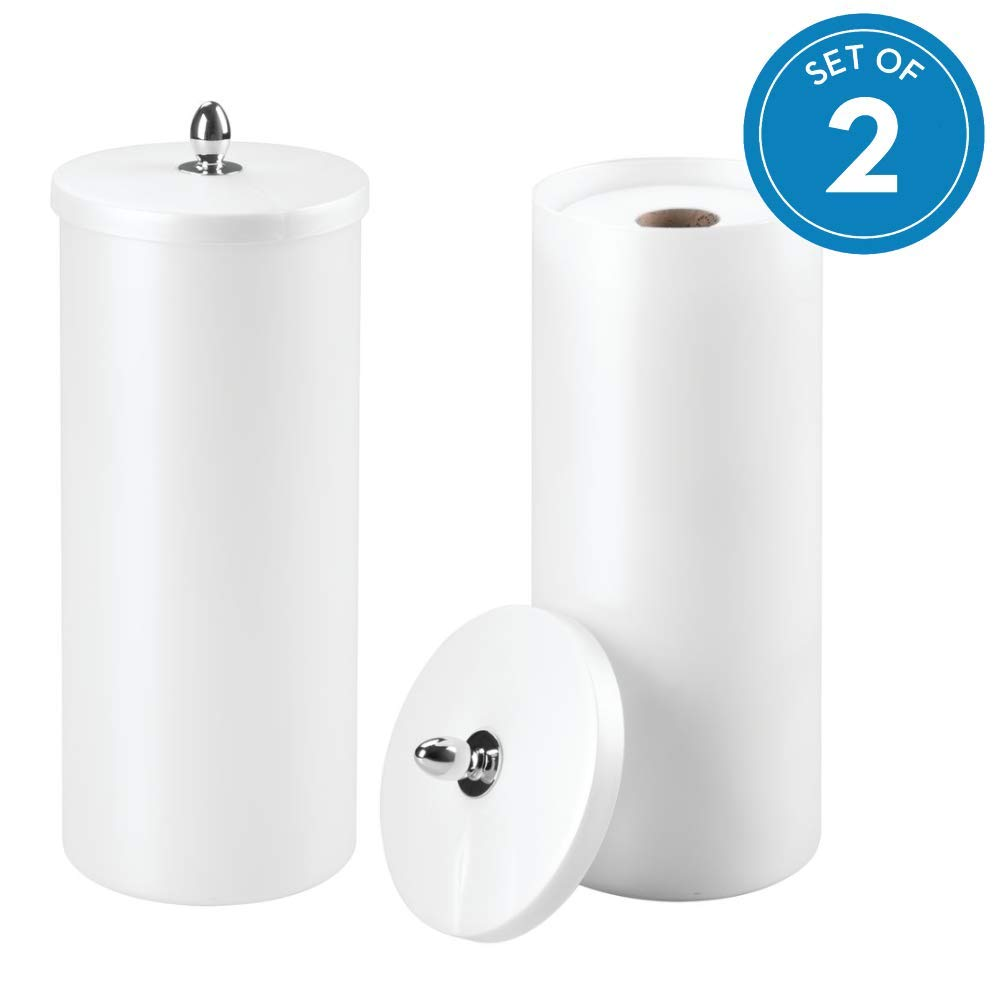 """iDesign Orb Plastic Free Standing Toilet Paper Tissue Holder, Roll Reserve Canister for Kids', Guest, Master, Office Bathroom, 6"""" x 6"""" x 15"""", Set of 2, Pearl White"""