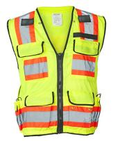 """Ironwear 1278FR-L-04-XL ANSI Class 2 Flame Retardant Polyester Surveyor SAFETY Vest with 2"""" Silver Reflective Tape, Lime, X-Large"""