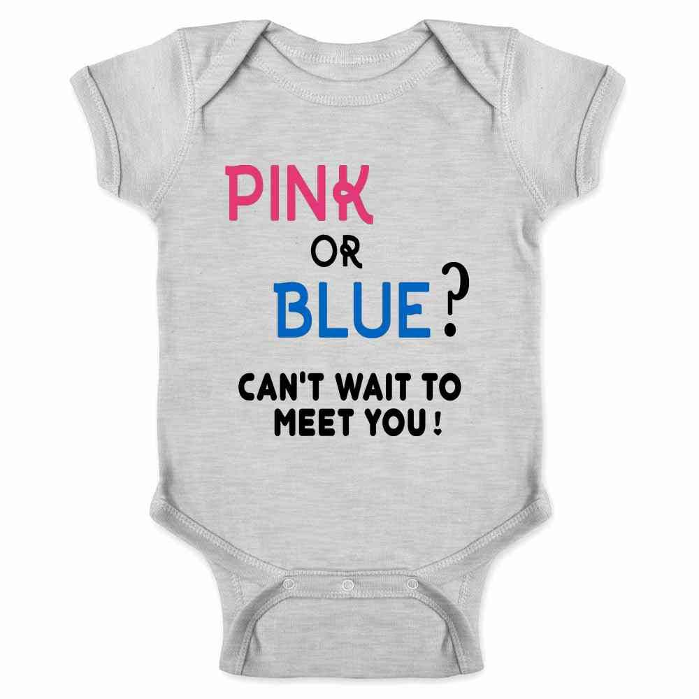 Pop Threads Gender Reveal Pink or Blue Can't Wait to Meet You Infant Baby Boy Girl Bodysuit