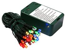 Vickerman 35 Count Battery Operated Wide-Angle LED Light Set with Timer-Green Wire, Multicolored