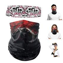 Sports Headband and Face Mask Neck Face Scarf Bandana Women Men(Black-5)