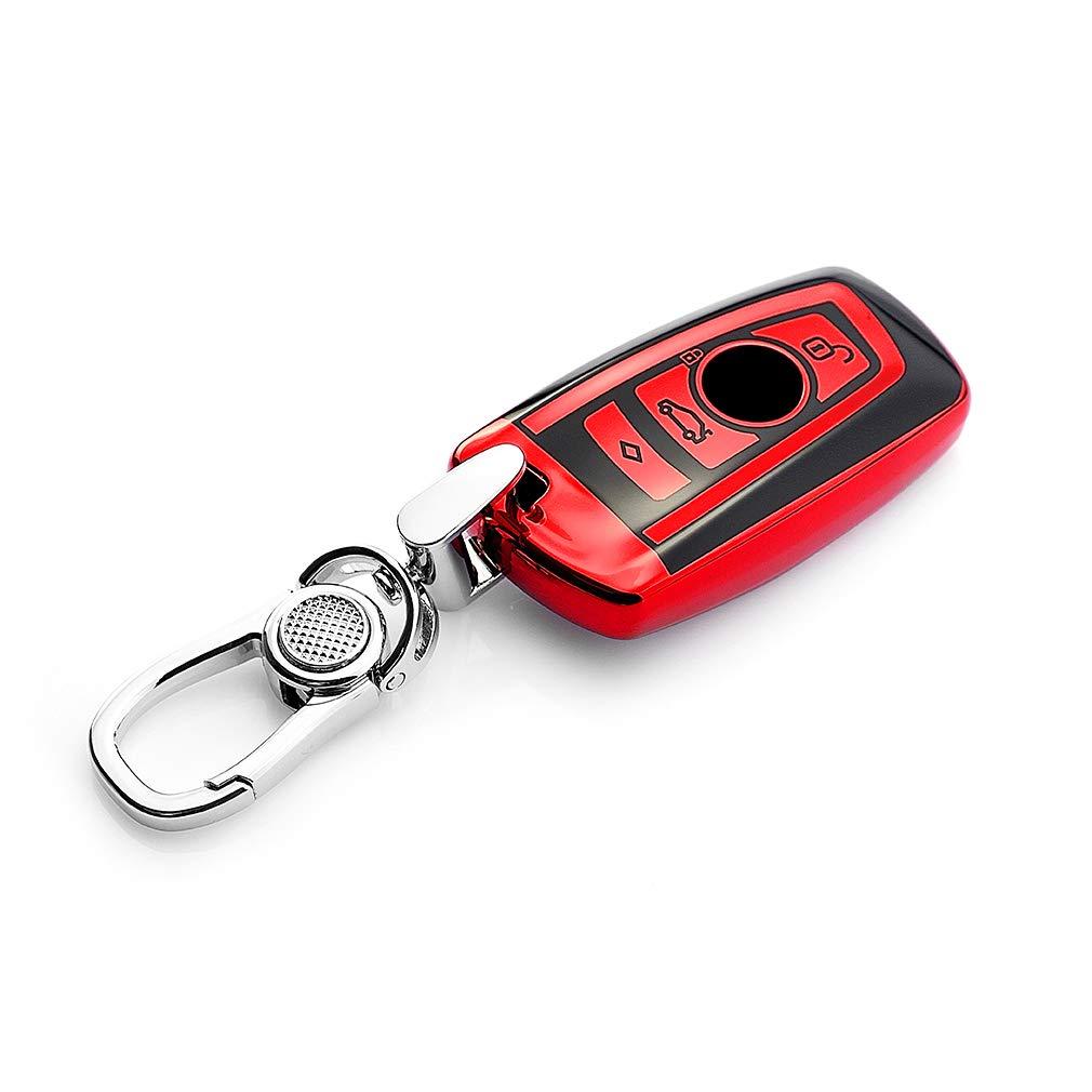 VANZAVANZU BMW Key Fob Cover, Soft TPU Smart Key Fob Case Holder Sleeve Car Key Chain for BMW 1 3 4 5 6 7 Series BMW X3 X4 M2 M3 M4 M5 M6 (Red)
