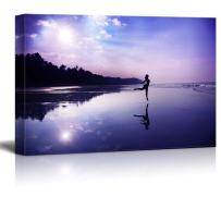 """wall26 - Canvas Prints Wall Art - Silhouette of a Beautiful Young Girl Dancing on The Beach at The Sunrise in Purple Colors - 24"""" x 36"""""""