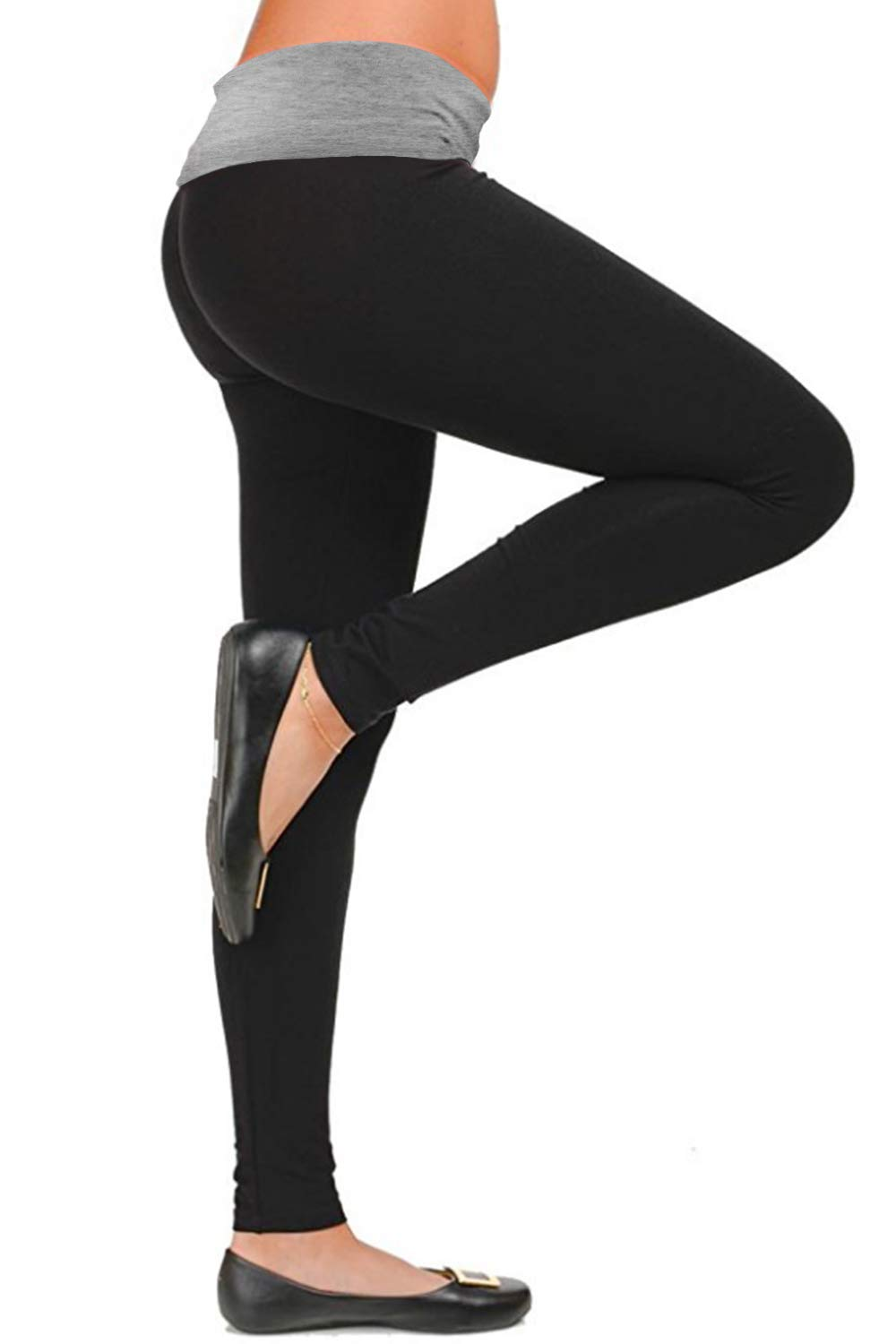 FASHION BOOMY Women's Bootleg Yoga Pants with Foldover Waist - Active Workout Flare Leggings