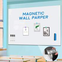 Large Magnetic Whiteboard Sticker for Wall, Non-Adhesive Back with Dry Erase Board Surface, Thick and Removable, 48 x 36 Inches, Includes 4 Markers 4 Magnets
