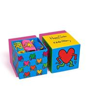 Happy Socks, Colorful Premium Cotton Gift Box 3 Pack Socks for Men and Women, Keith Haring, 10-13