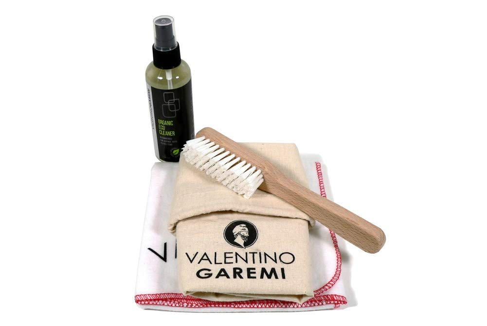 Valentino Garemi Sneaker Cleaning Kit – Shoe Cleaner Set for All Materials Fabric Leather Suede Canvas White Converse Style – Stain Mark Clean and Remove – Brush Natural Solution Cotton Cloth