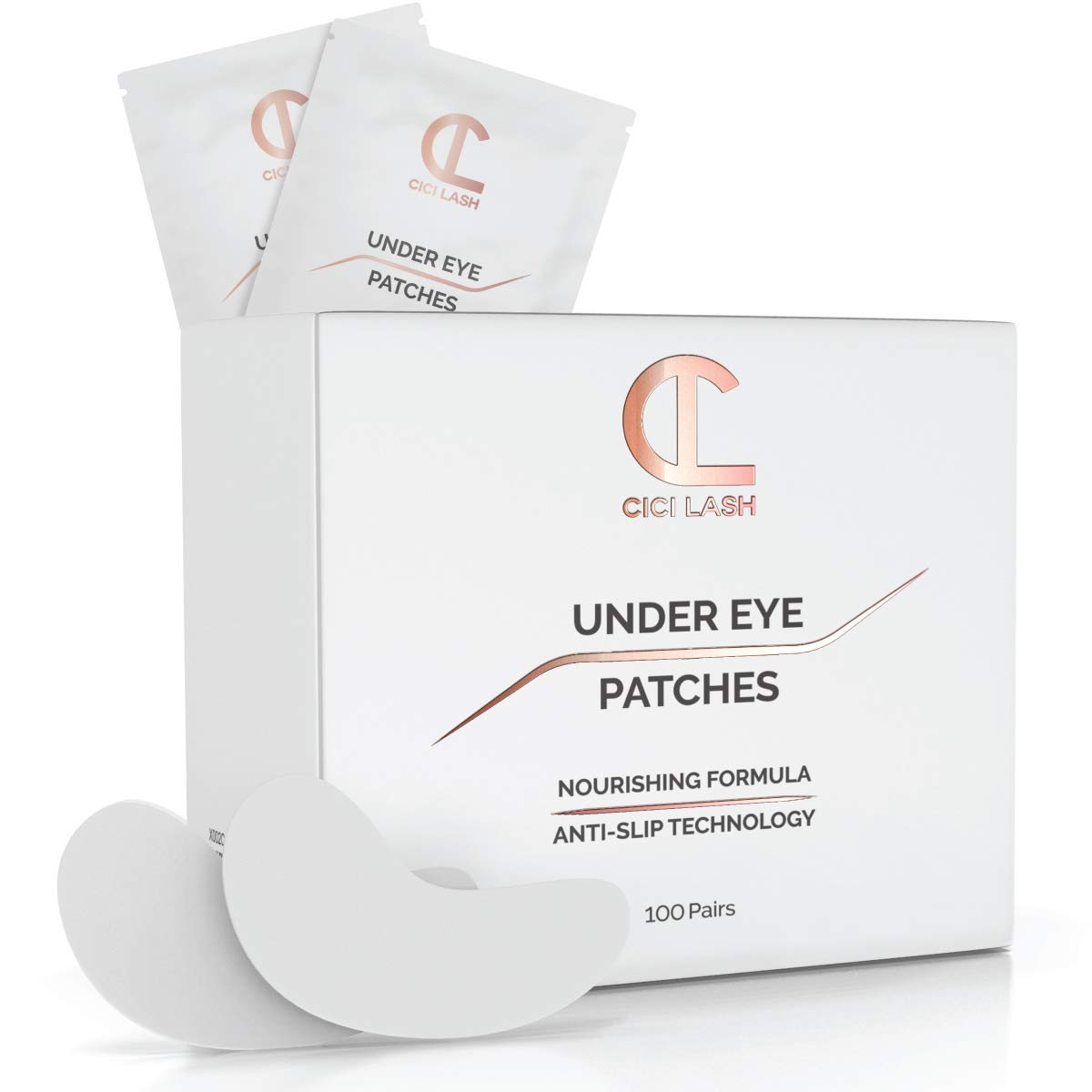 100 Pairs Under Eye Pads for Eyelash Extensions – Professional Lint Free Hydrogel Eye Patches with Moisturizing Vitamin C and Aloe Vera for Eyelash Extension & Lash Lift/Perm - Gel Undereye Eyepads
