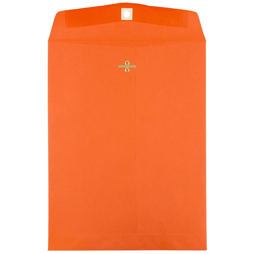 JAM PAPER 9 x 12 Colored Envelopes with Clasp Closure - Orange Recycled - Bulk 250/Box