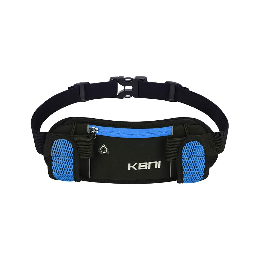 AUTO STAR KBNI Running Belt Waist Bag with 2 Holders for 10oz Water Bottle Running Hiking Cycling Climbing, Adjustable Belt for Men and Women Large Zipper Pocket Fits for iPhone and Android Phones