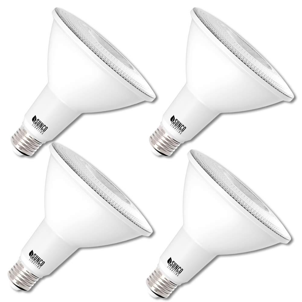 Sunco Lighting 4 Pack PAR38 LED Bulb 13W=100W, 5000K Daylight, 1050 LM, Dimmable Flood Light, Indoor/Outdoor, Accent, Highlight - UL & Energy Star Listed