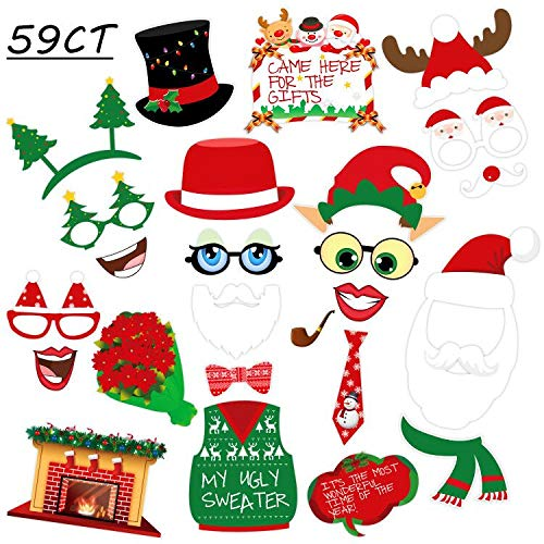 59Ct Christmas Photo Booth Props - Xmas/Holiday Decorations Santa Snowman Party Supplies