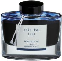 PILOT Iroshizuku Bottled Fountain Pen Ink, Shin-Kai, Deep Sea (Blue Black) 50ml Bottle (69225)