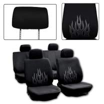 SCITOO Seat Covers Universal Fit Full Set Car Seat Protectors with w/Headrest Covers/Steering Wheel/Shoulder Pads Car Seat Accessories - 8PCS, Black/Gray