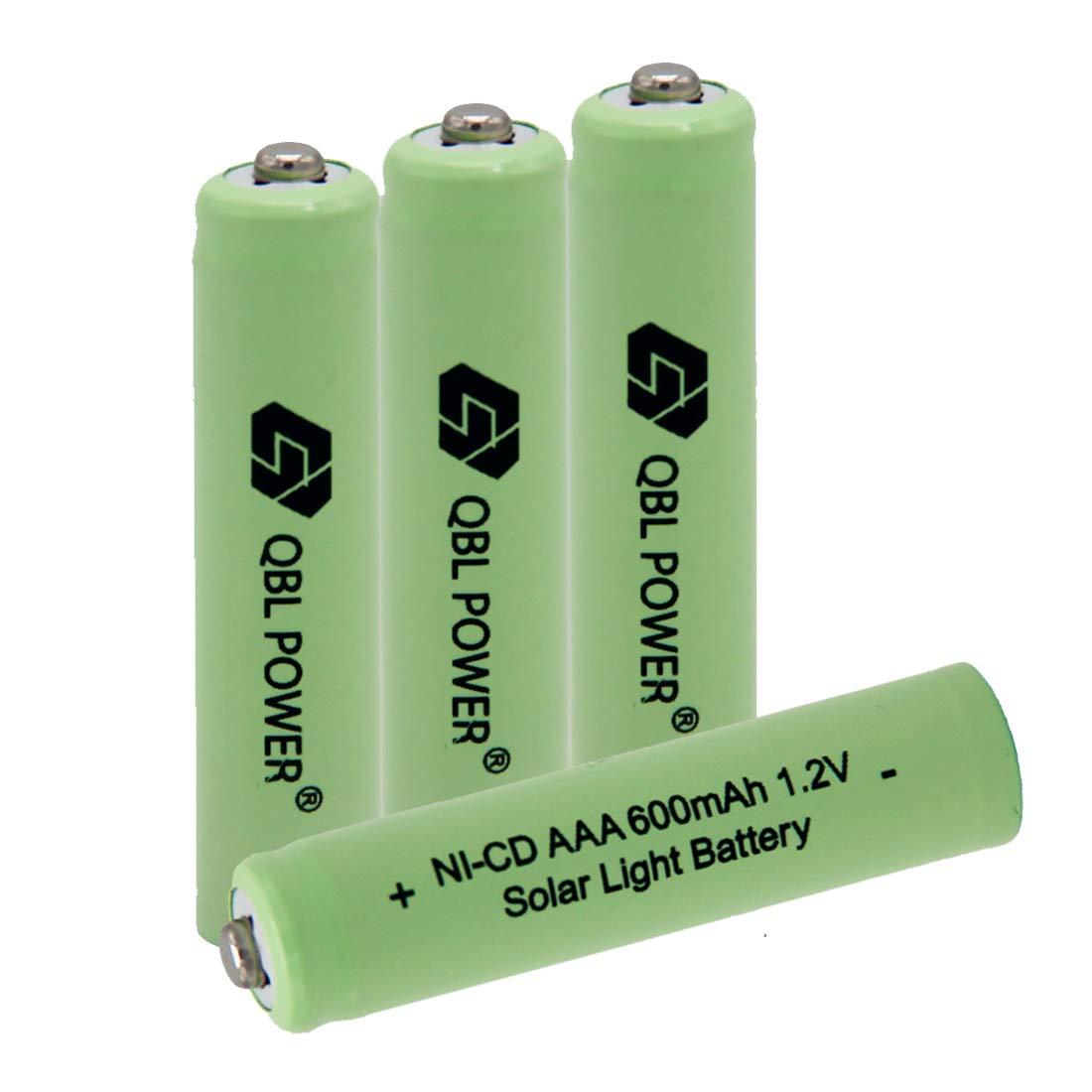 QBLPOWER 1.2v AAA NiCd 600mAh Triple A Rechargeable Battery Cell for Solar Lights Garden Lamp (4 Pcs AAA NiCd 600mAh(Green))