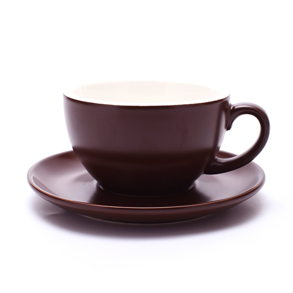 Coffeezone Latte Art Cup and Saucer, Latte & Cappuccino New Bone China, Mate for Coffee Shop and Barista (Matte Brown, 10.5 oz)