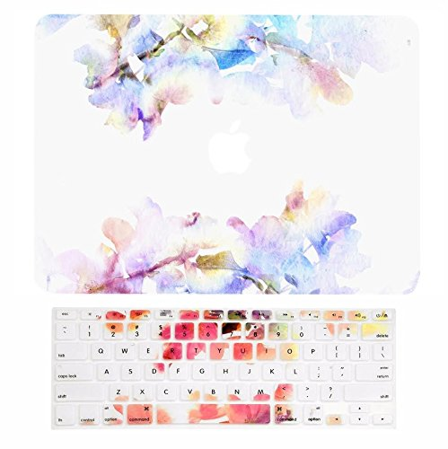 """TOP CASE - 2 in 1 Signature Bundle Floral Reflection Pattern Matte Hard Case + Keyboard Cover Compatible MacBook Air 13"""" A1369 /A1466 (Older Version, Release 2010-2017) – Blue Flowers"""