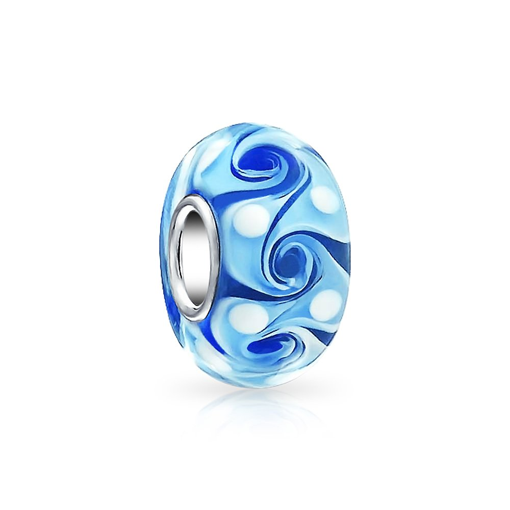 Wave Swirl Murano Glass Spacer Bead Fits European Charm Bracelet For Women For Teen 925 Sterling Silver More Colors