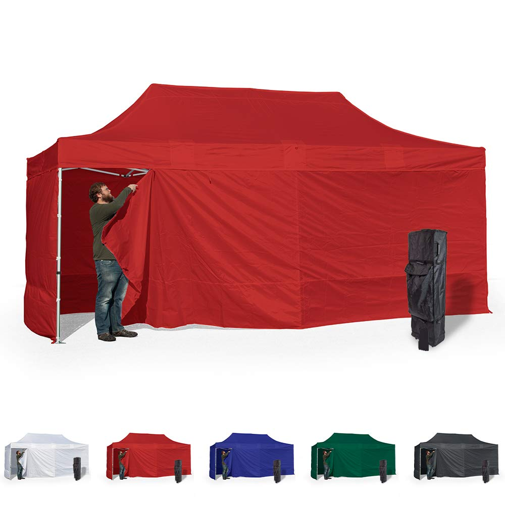 Vispronet 10x20 Instant Canopy Tent and 4 Side Walls – Commercial Grade Steel Frame with Water-Resistant Canopy Top and Sidewalls – Bonus Canopy Bag and Stake Kit Included (Red)