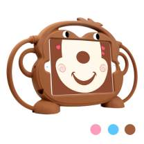 Dowpar Case for Kids iPad 2017/2018/Air/Air2/Pro 9.7 inch Shockproof Silicone Case with Handles to Carry or Hang and Durable Protective Cover with Stand for iPad 5th 6th Pro 9.7 Air 1 2 Tablet - Brown