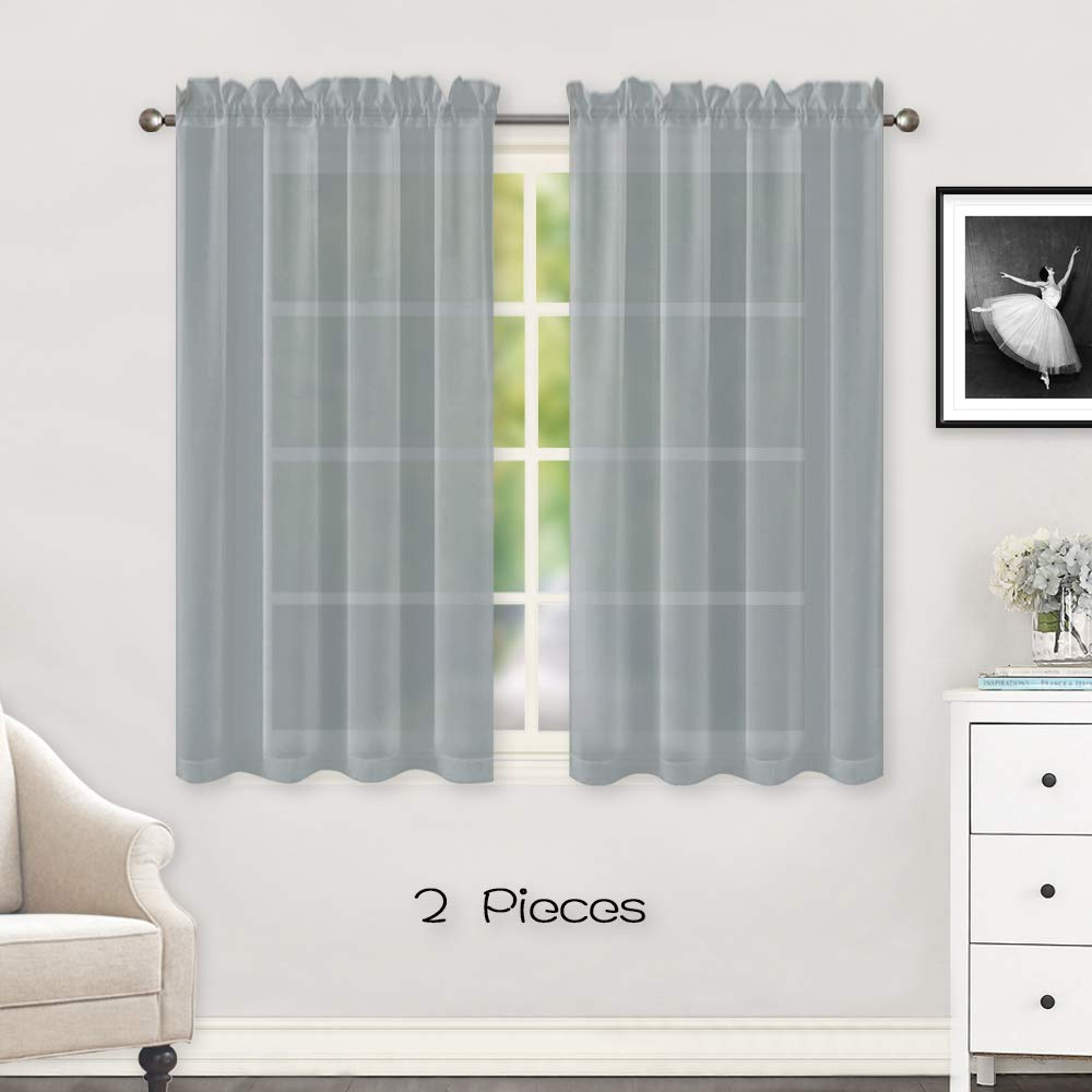 HUTO Sheer Grey Curtains Panels for Small Windows Rod Pocket Sheer Voile Window Drapes 45 Inches Long for Bathroom Kitchen Set of 2 Each is 52 inches Wide
