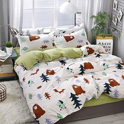 KFZ Woodland Bear Printed Duvet Cover Set, 3PCS Twin Bedding with Comforter Cover (No Comforter Insert), Pillow Cases, Breathable Bed Set for Kids and Teens