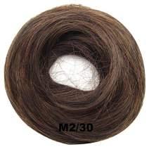 PrettyWit Wavy Curly Messy Hair Bun Updo Extensions Chignons Piece Wig Scrunchy Scrunchie Hairpiece Ribbon Ponytail Bridal-Darkest Brown & Light Auburn M2/30
