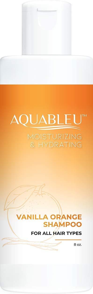 Aquableu Sweet Orange Vanilla Shampoo - Natural Moisturizing, Soothing & Anti-Inflammatory Keratin Home Care Treatment - Safe for colored treated - Sulfate & Paraben Free - For Men & Women (8 oz)