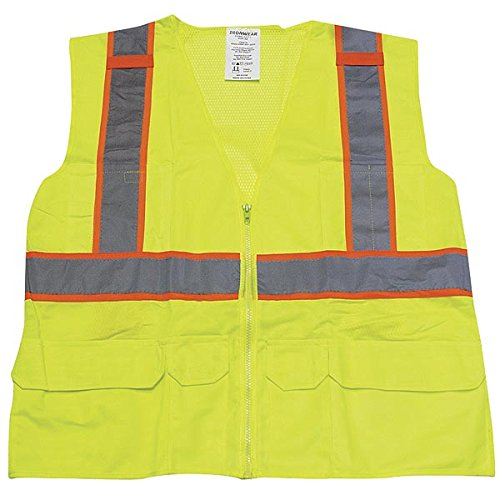 """Ironwear 1277-L-05-2XL ANSI Class 2 Polyester Mesh SAFETY Vest with 2"""" Silver Reflective Tape Over Lime, 2X-Large"""