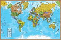 """Waypoint Geographic Blue Ocean World Wall Map (24"""" x 36"""") - Current UP-to-Date - 1000's of Named Locations & Points of Interest - Rolled & Laminated - Display in Office, Classroom or Home"""