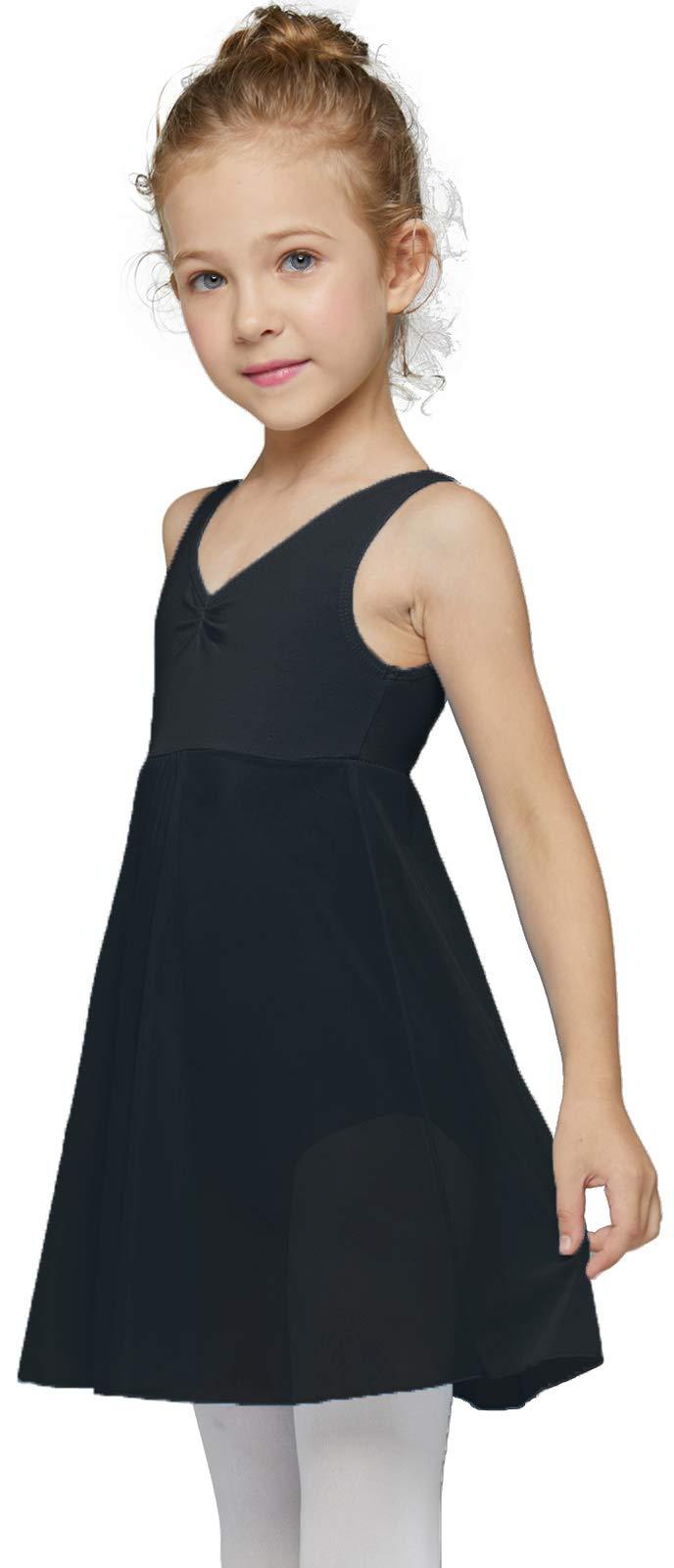 MdnMd Toddler Girls' Dance Ballet Leotard Outfit Ballerina Dress with Tank Long Skirted Dancewear